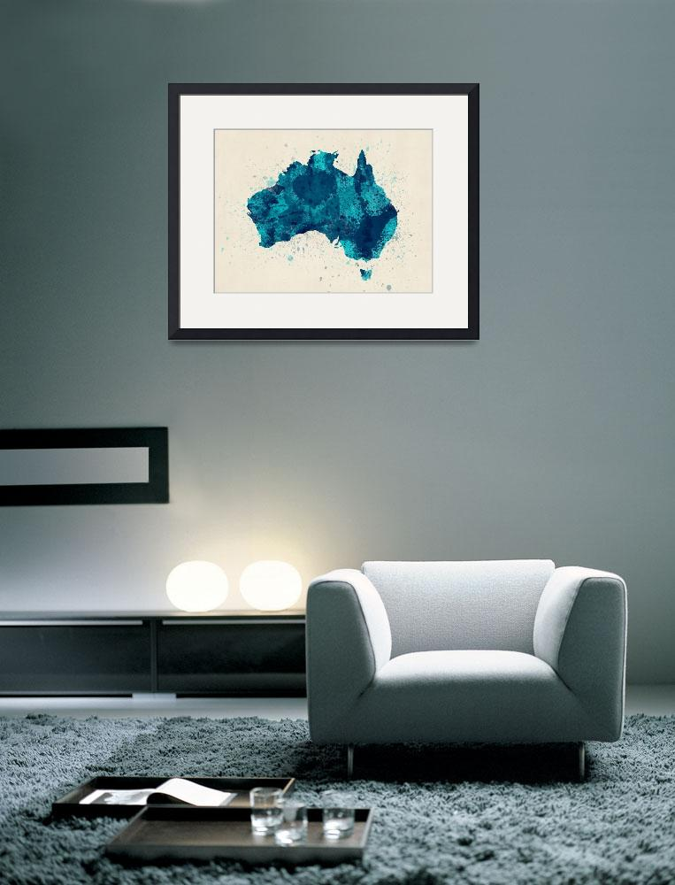 """Australia Paint Splashes Map&quot  (2013) by ModernArtPrints"