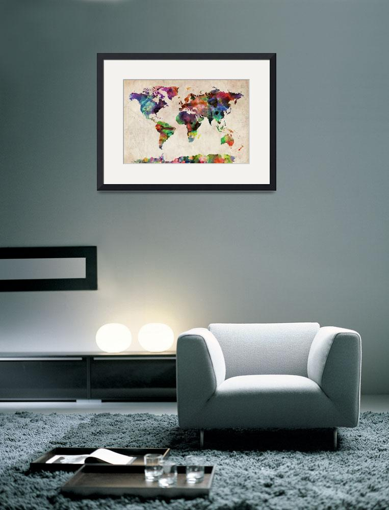 """World Map Urban Watercolor&quot  (2011) by ModernArtPrints"