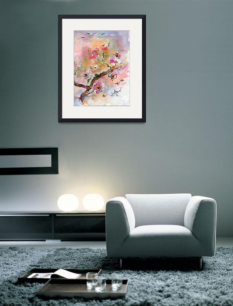 """Cherry Blossoms Branch Watercolor&quot  (2016) by GinetteCallaway"