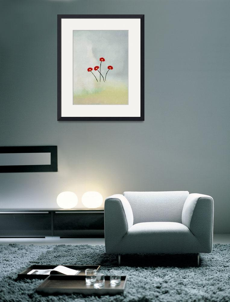 """red flowers poster&quot  (2012) by eydiHB"