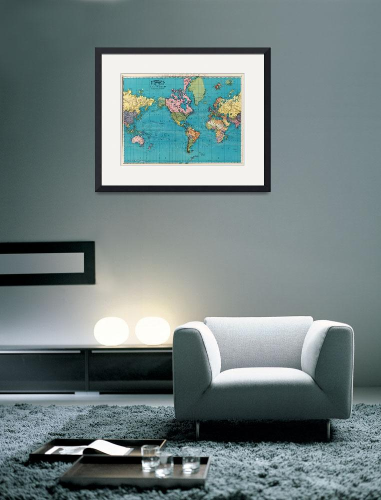 """Vintage Map of The World (1897)&quot  by Alleycatshirts"