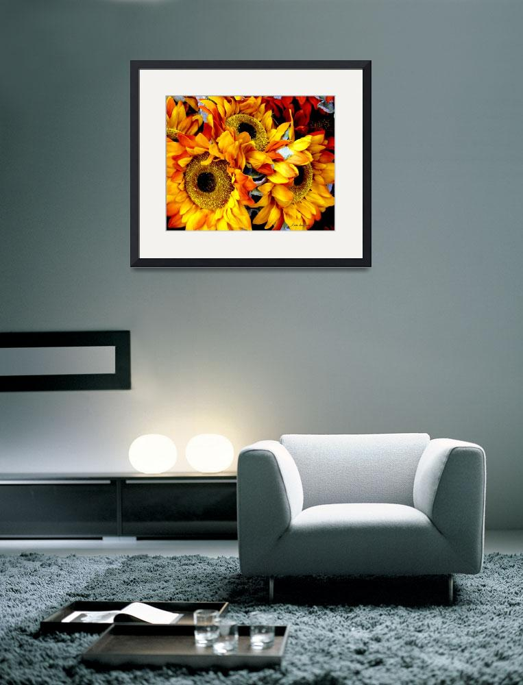 """Expressive Digital Sunflowers Photo 001A&quot  (2015) by MasArtStudio"