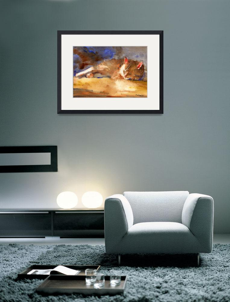 """Edward Sleeping, Watercolor Painting Animal Orange&quot  (2008) by schulmanart"