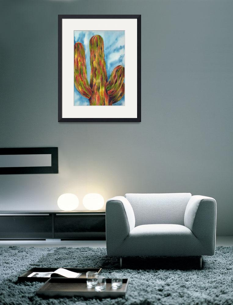 """The Grand and Towering Saguaro Cactus Watercolor&quot  by GayelaChapman"