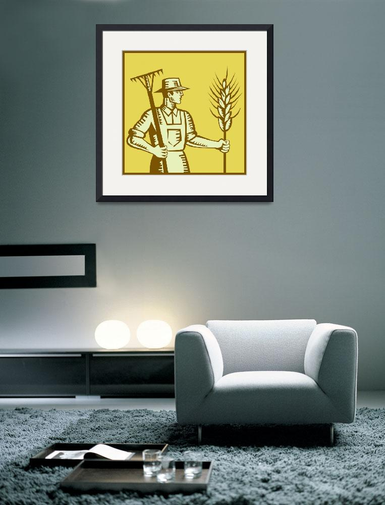 """Farmer With Rake and Wheat Woodcut&quot  (2012) by patrimonio"
