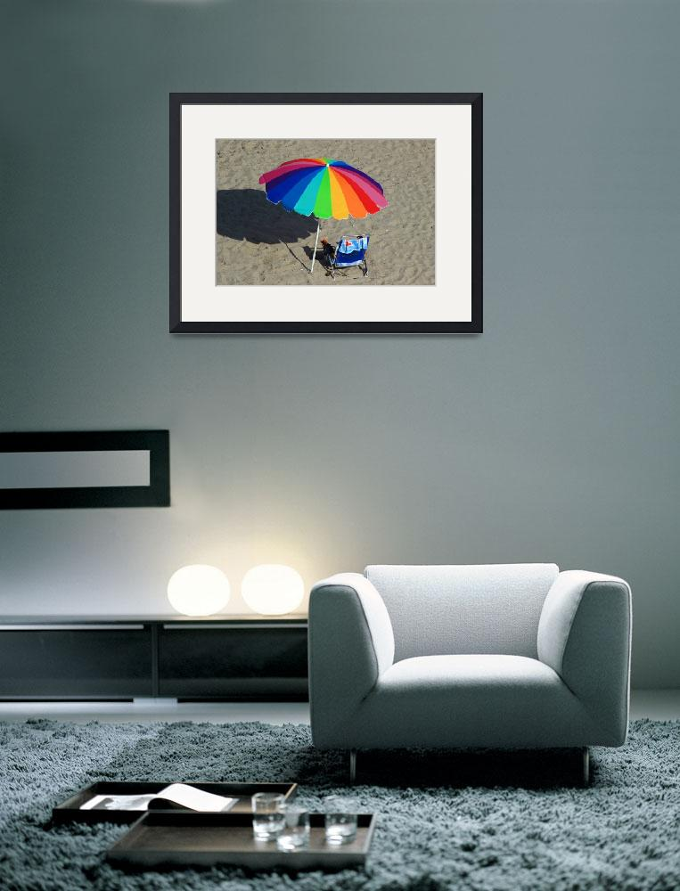 """Colorful Beach Umbrella&quot  (2014) by rhamm"