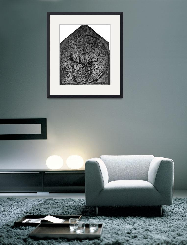 """Hereford Mappa Mundi 1300 Black & White&quot  (2014) by TheNorthernTerritory"