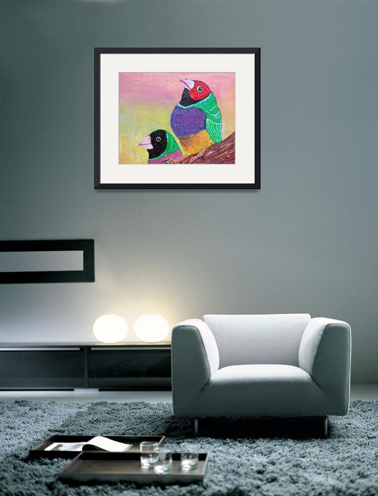 """Pretty Gouldian Finches&quot  (2014) by ArtPrints"