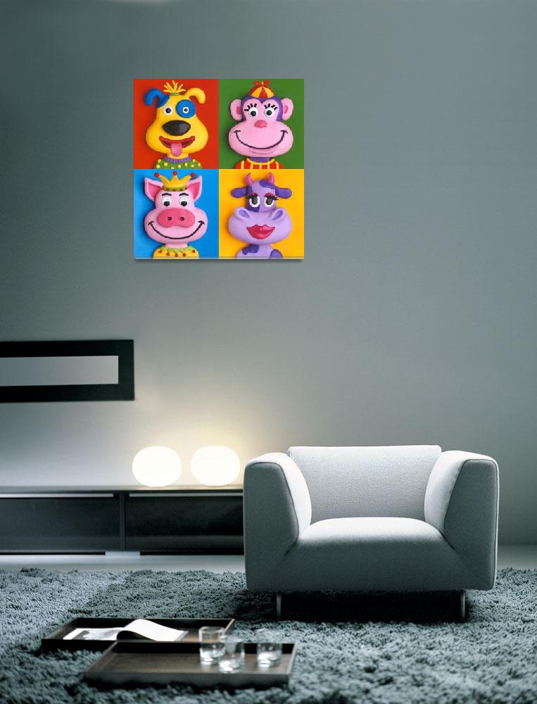 """Four Animal Faces&quot  (2009) by AmyVangsgard"