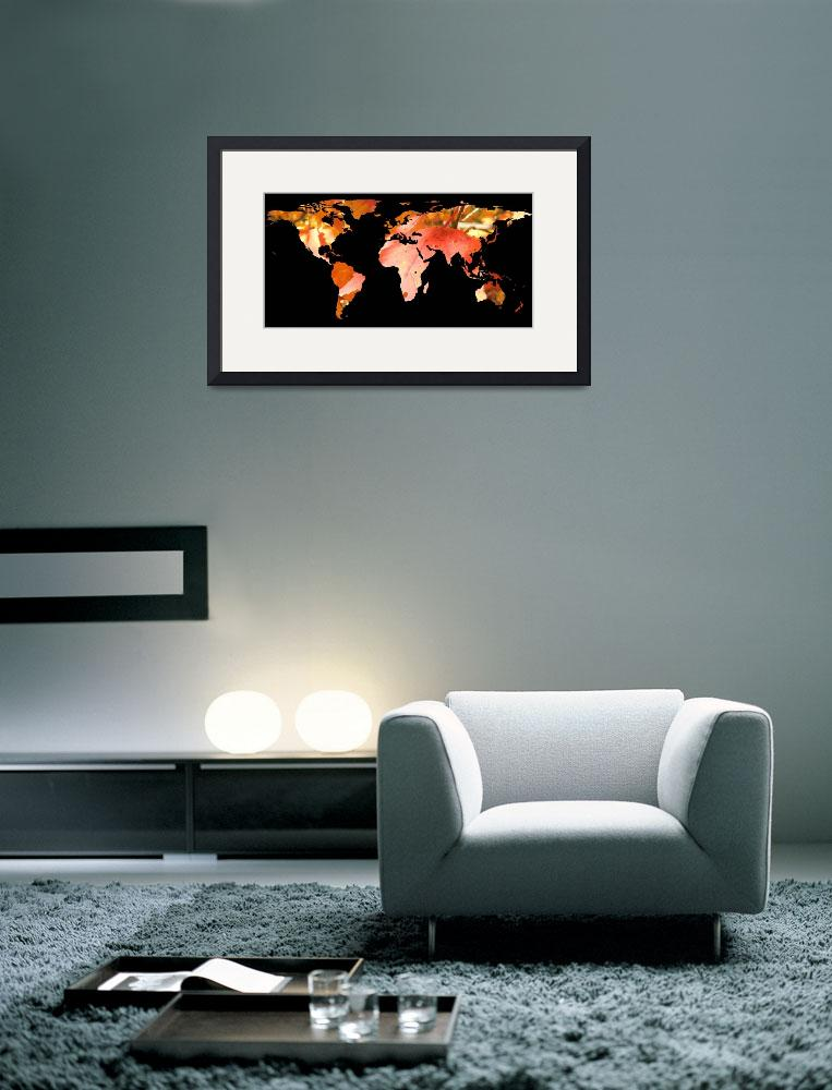 """World Map Silhouette - Fall Leaves&quot  by Alleycatshirts"