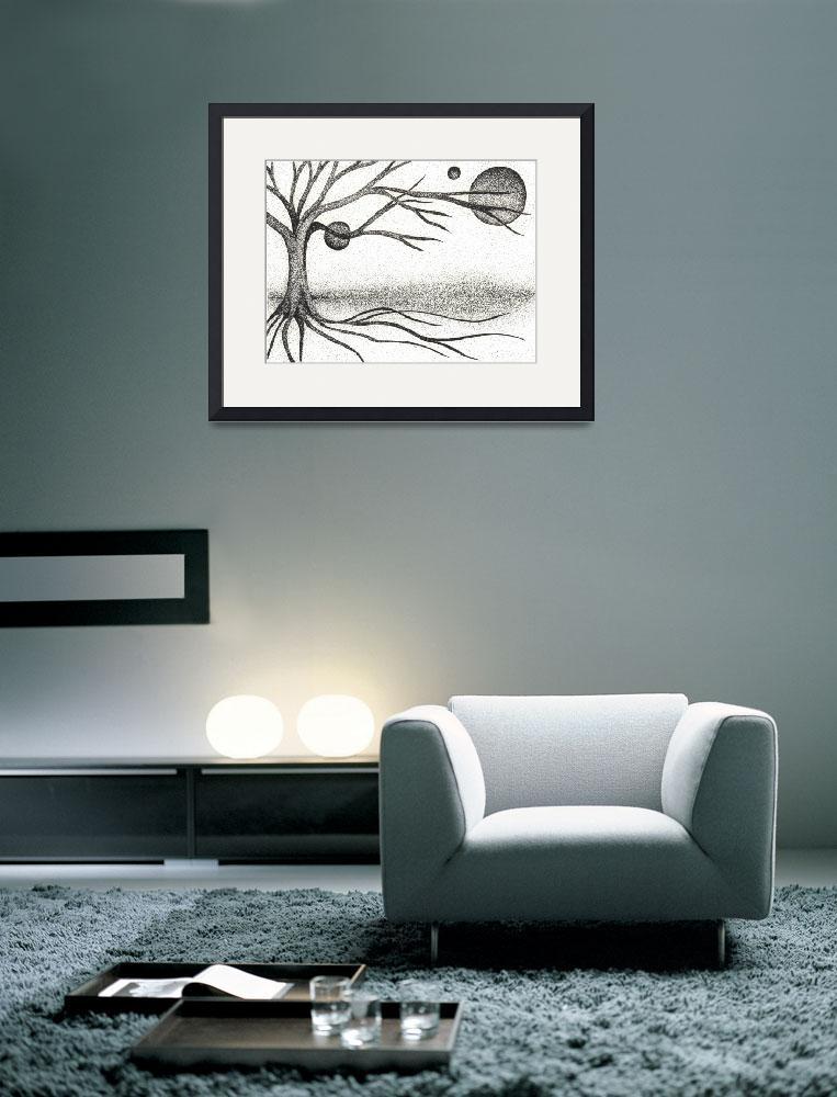 """Pen & Ink Ilustration By Boug Ashby. Tree & Moons&quot  (2011) by drawingwithdots"