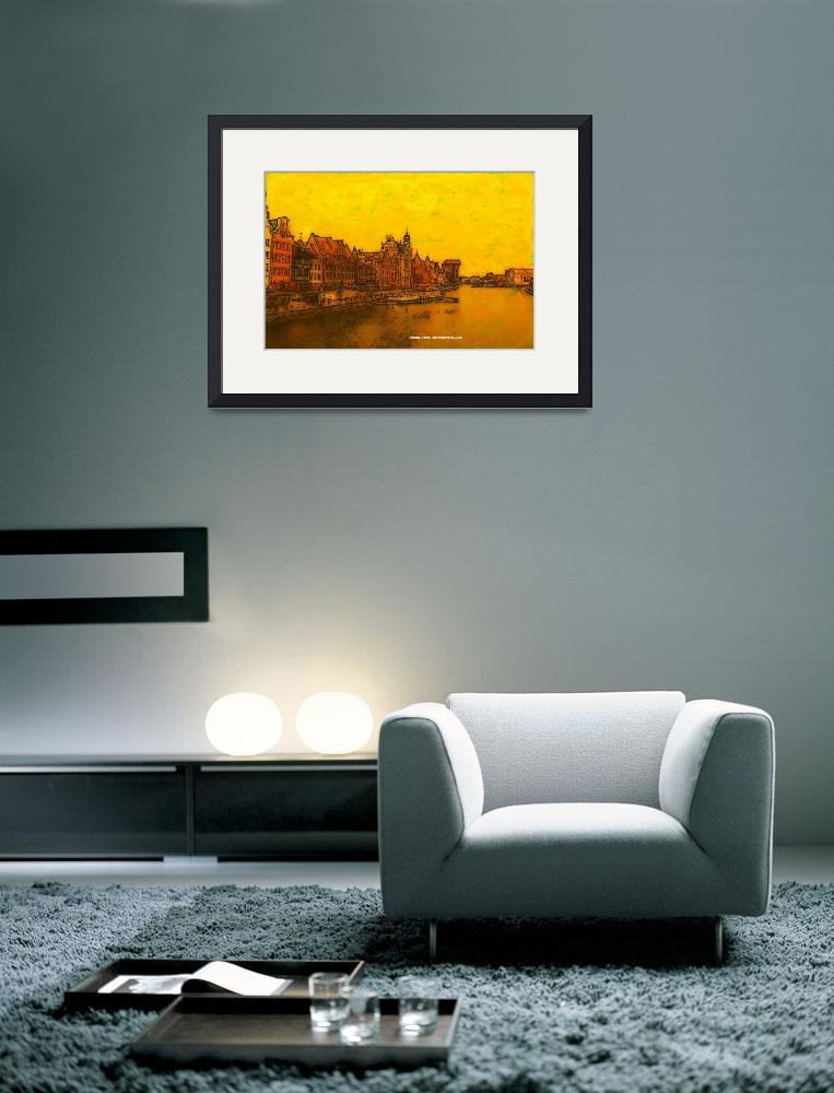 """Golden Watercolor Gdansk&quot  by artimus"