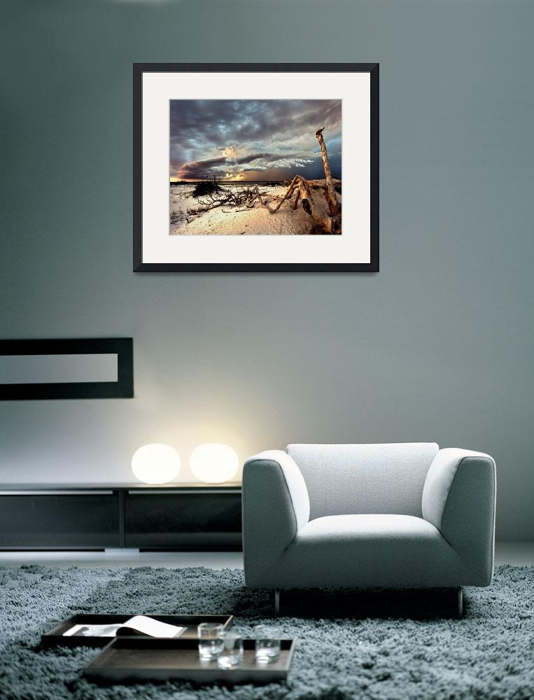 """Lightning Storm Clouds Blue Landscape Art Prints&quot  by eszra"