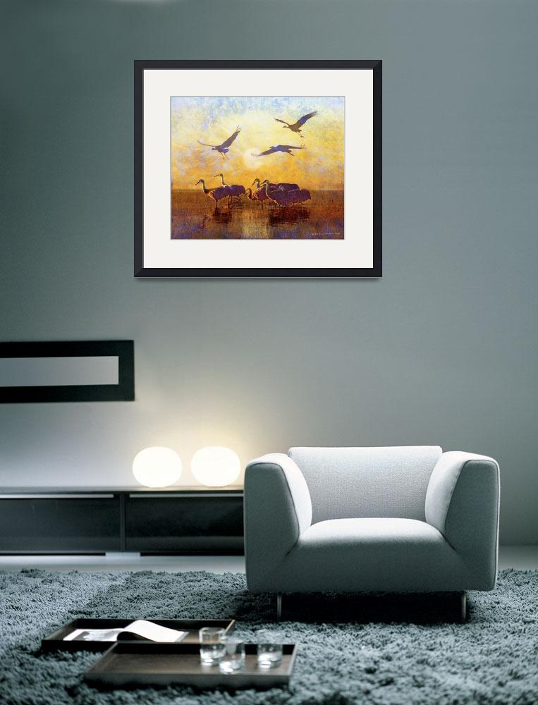 """sunrise on the marsh - sandhill cranes&quot  (2012) by rchristophervest"