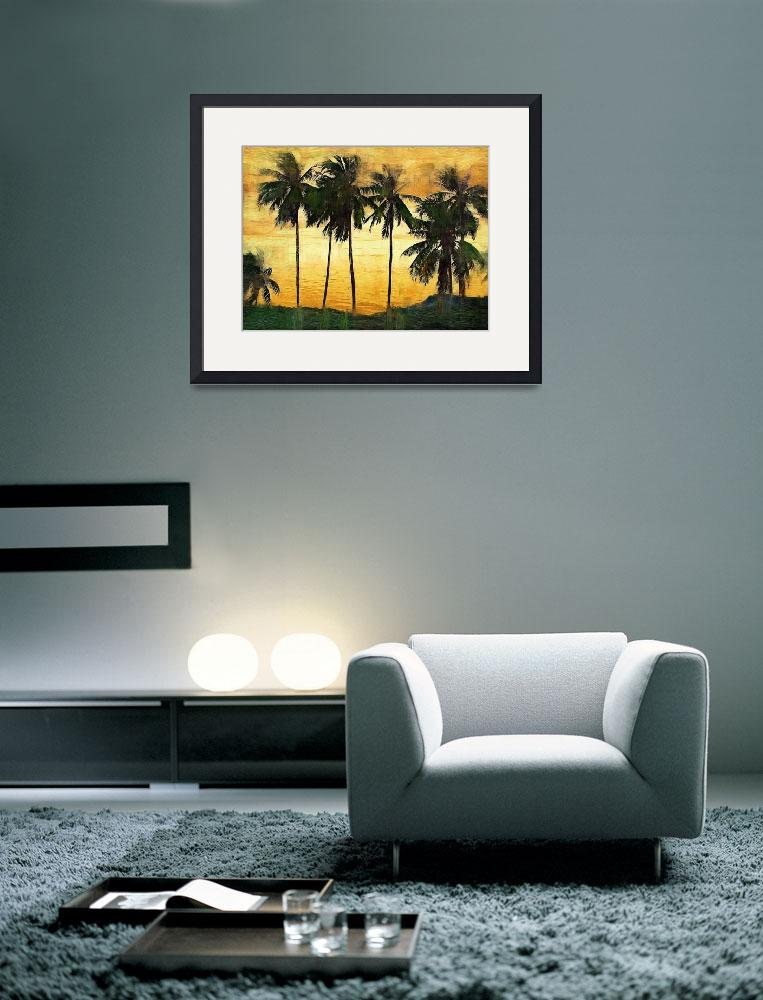 """Palm Trees at Sunset&quot  (2009) by talgreen"