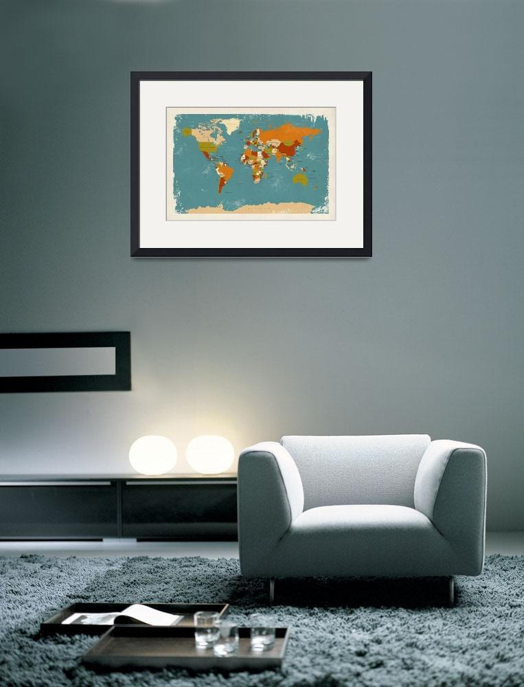 """Retro Political Map of the World&quot  (2013) by ModernArtPrints"