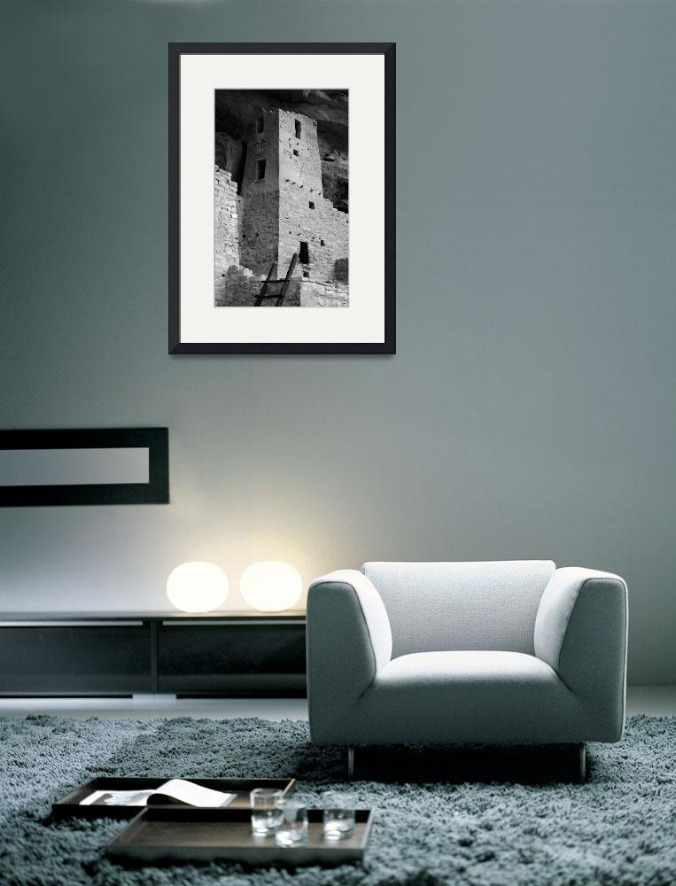 """Square Tower, Cliff Palace ( B&W )&quot  (2008) by MichaelStephenWills"