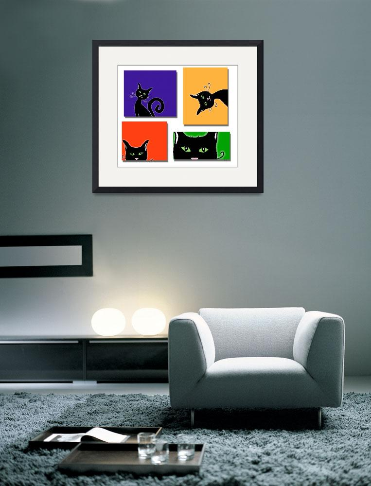 """Cats in Squares&quot  (2015) by paintingsbygretzky"