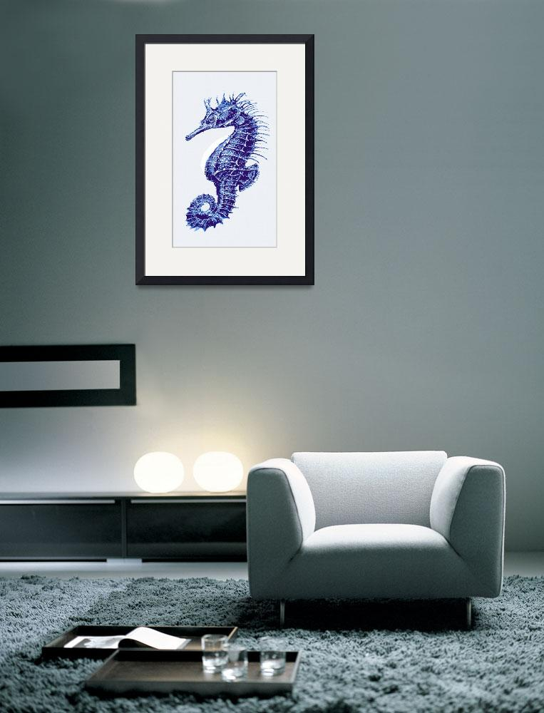 """blue vintage seahorse- right&quot  (2013) by pietrastone"