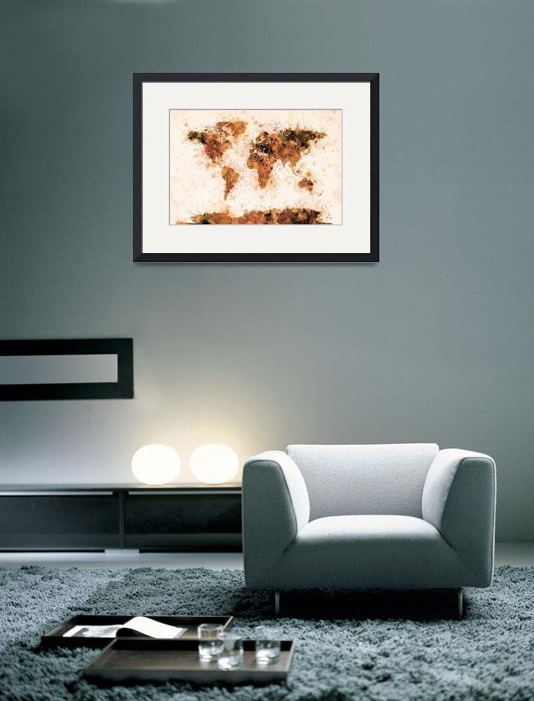 """World Map Paint Splashes Bronze&quot  (2011) by ModernArtPrints"