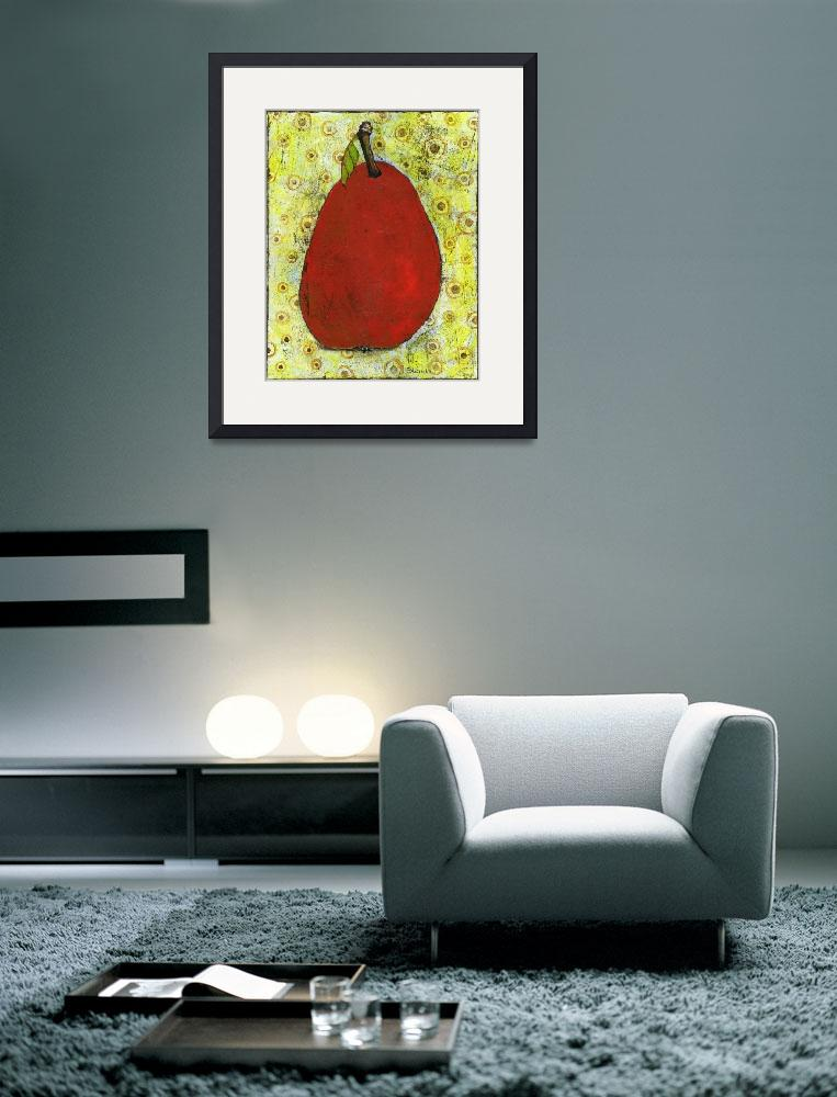 """Red Pear on Circles Art&quot  by BlendaStudio"