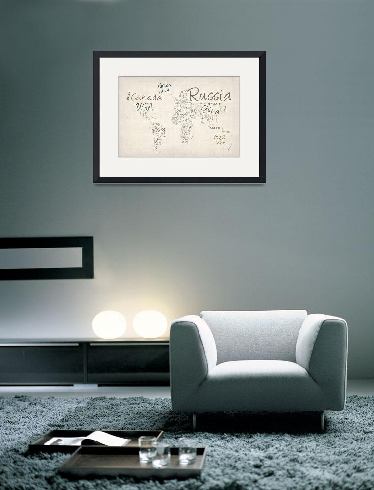 """Writing Text Map of the World Map&quot  (2012) by ModernArtPrints"