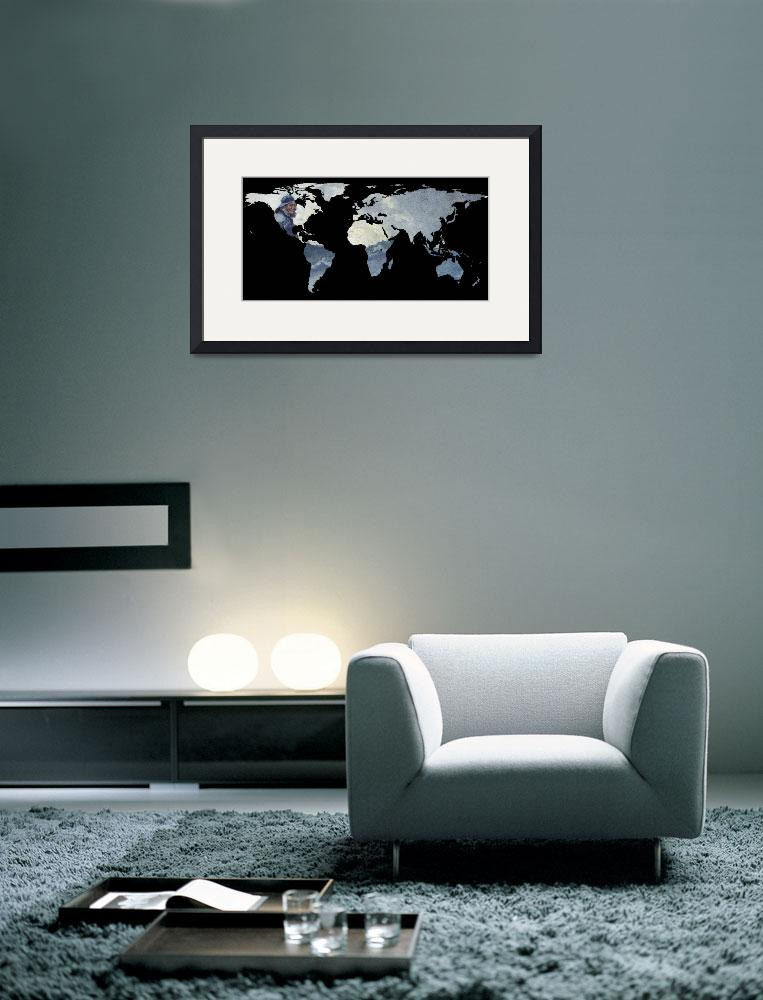 """World Map Silhouette - Fisherman on The Ocean&quot  by Alleycatshirts"