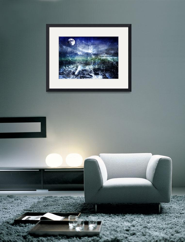 """Abstract Moonlit Seascape Painting 36a&quot  (2016) by Ricardos"