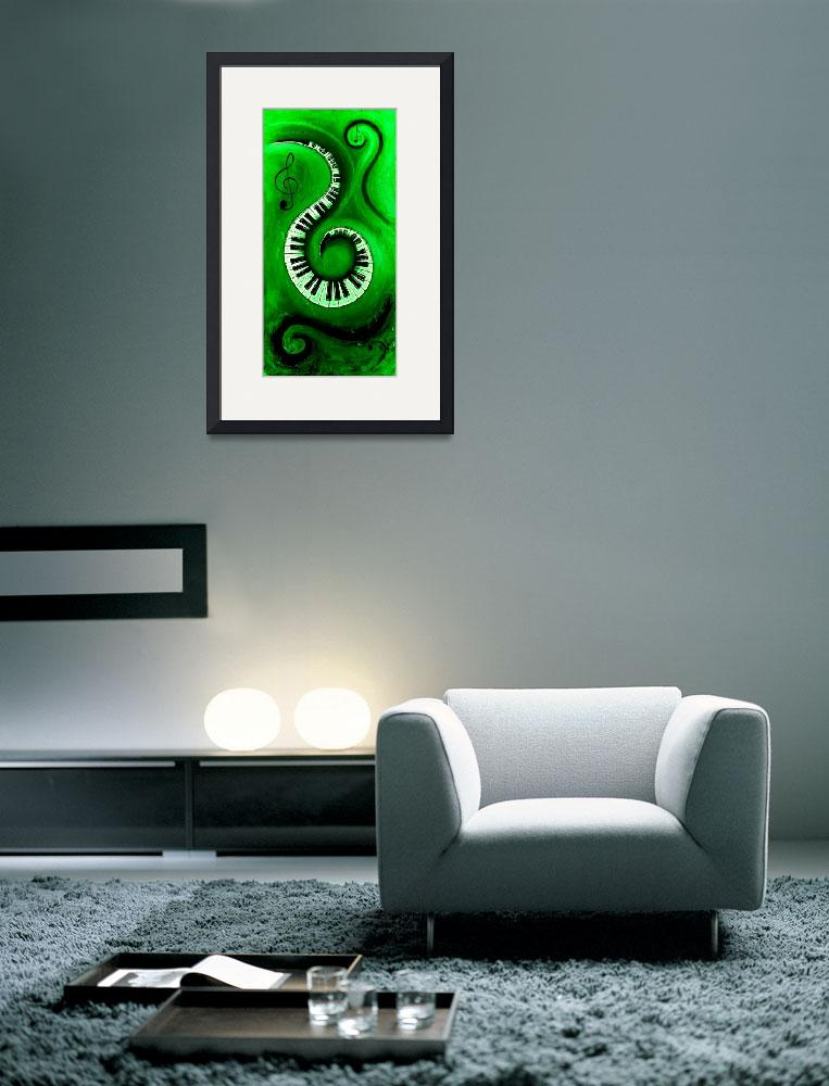 """Green - Swirling Piano Keys - Music In Motion&quot  by waynecantrell"