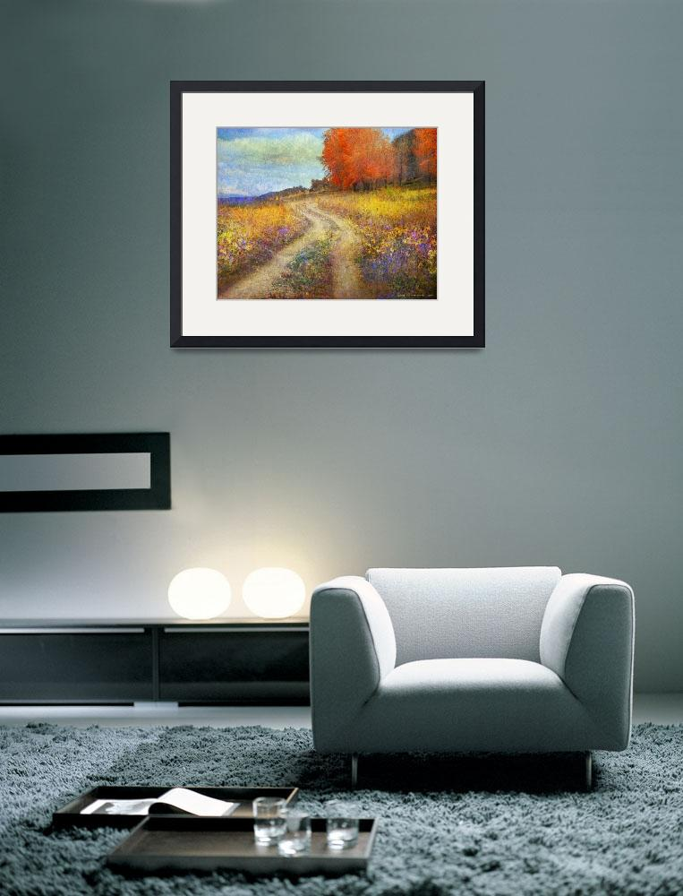 """road by the lake with flowers and fall colors&quot  (2014) by rchristophervest"