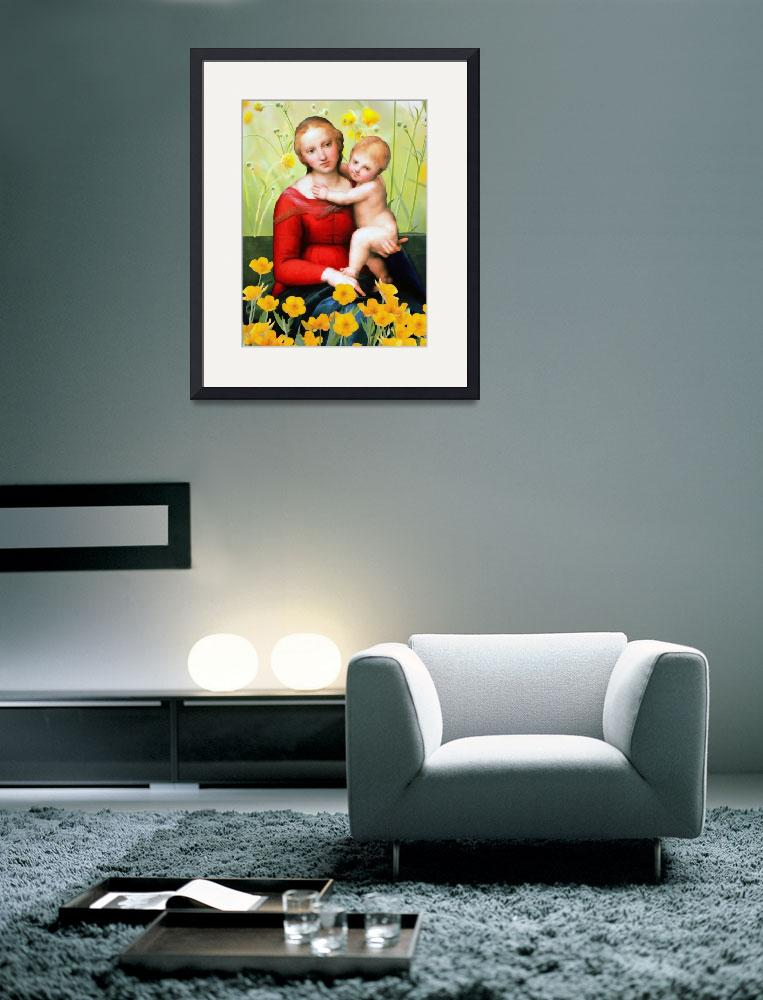 """Raphael_-_The_Small_Cowper_Madonna_with flowers&quot  by rickimountain"