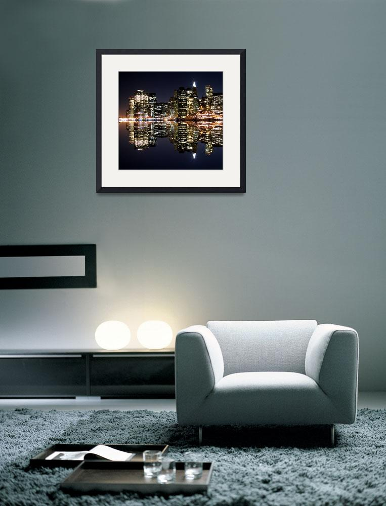 """Lower Manhattan Aglow in the Dark Night Sky&quot  (2009) by New-Yorkled"