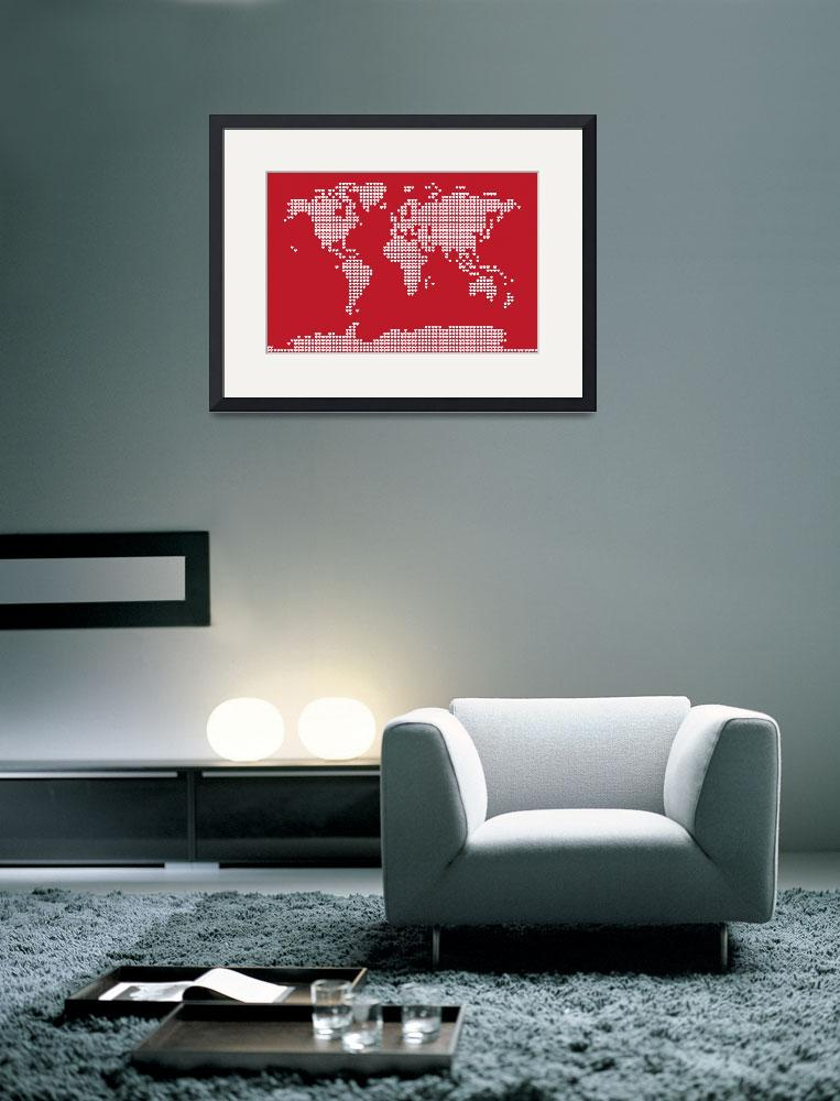 """World Map Love Hearts&quot  (2011) by ModernArtPrints"