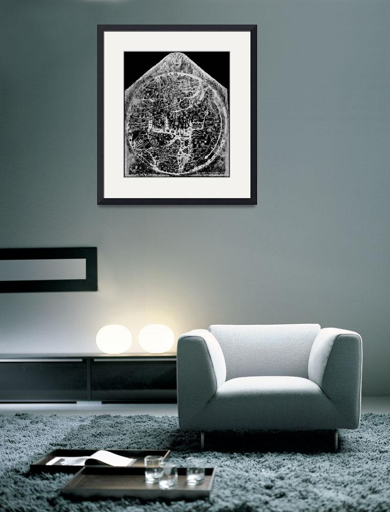 """Hereford Mappa Mundi 1300 Black & White Negative I&quot  (2014) by TheNorthernTerritory"