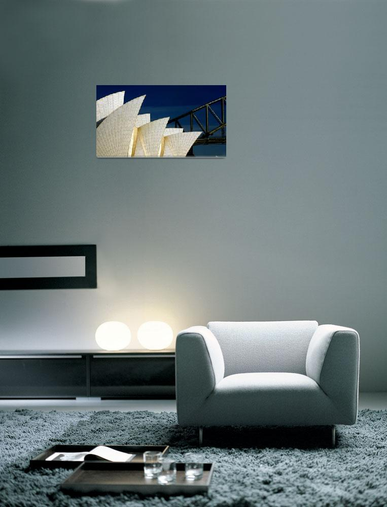"""Sydney Opera House with Harbour Bridge backdrop&quot  (2005) by SheilaSmart"