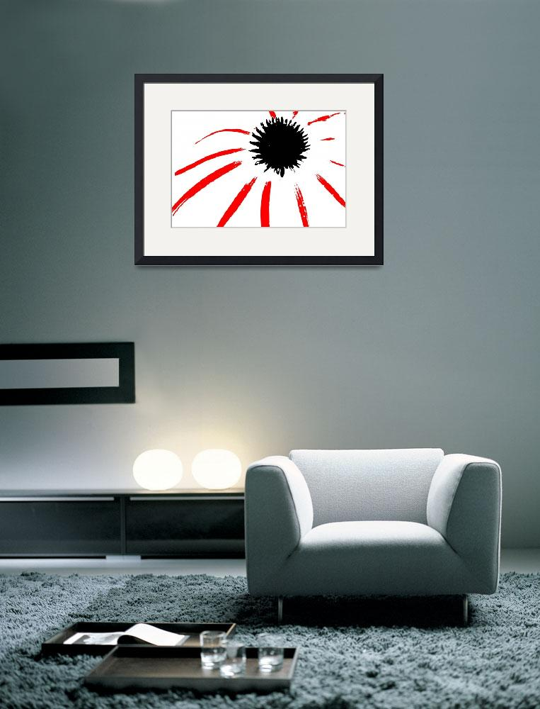 """Coneflower Black White And Red Series&quot  (2013) by bettynorthcutt"