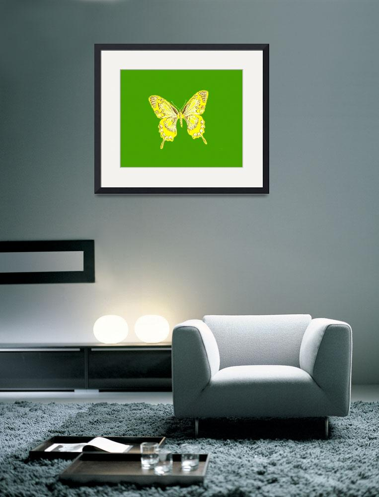 """Yellow Butterfly Green Background&quot  (2013) by TheNorthernTerritory"