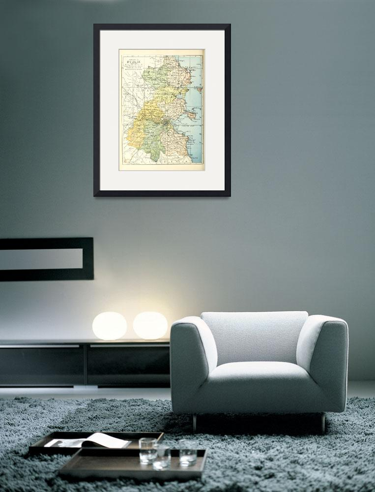 """Vintage Map of Dublin Ireland and Surrounding Area&quot  by Alleycatshirts"