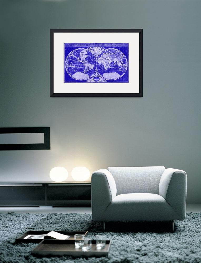 """World Map (1691) Blue & White&quot  by Alleycatshirts"