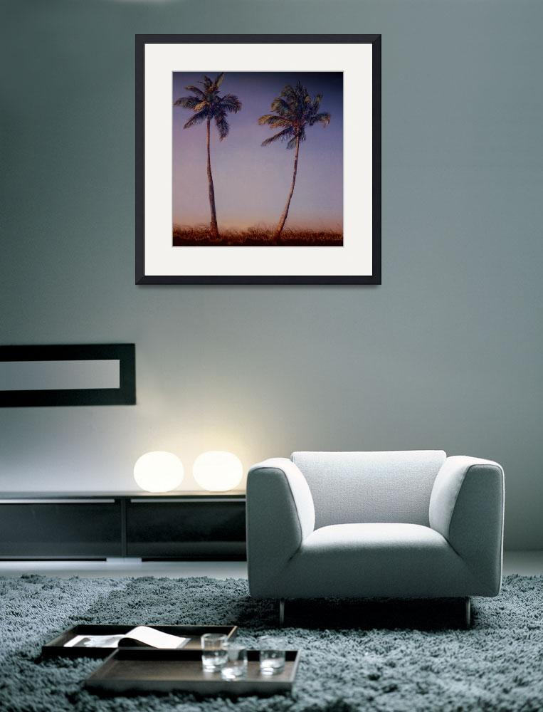 """Two Tall Palms, at Sunset&quot  (2003) by joegemignani"