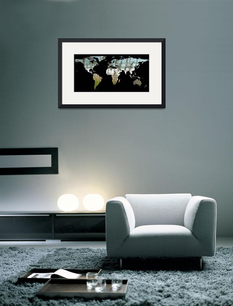 """World Map Silhouette - Beach Grass and Ocean&quot  by Alleycatshirts"