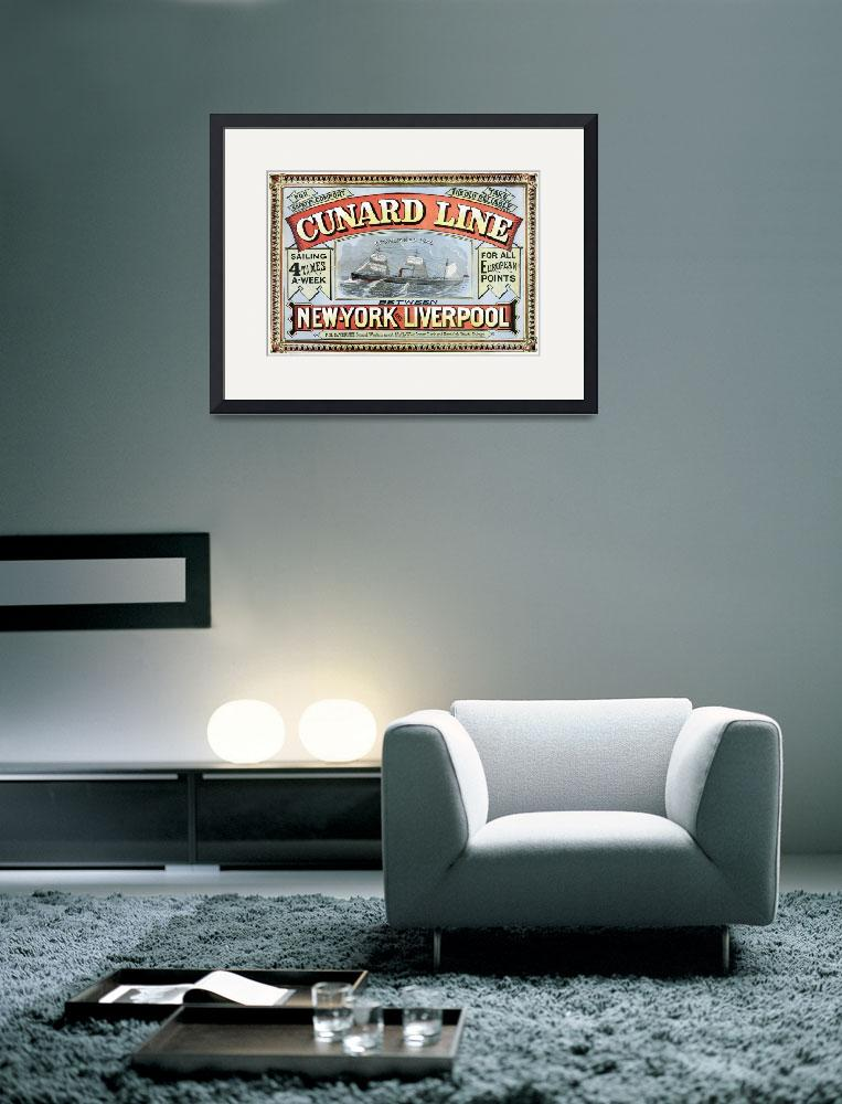 """Cunard Line - New York to Liverpool&quot  by Alleycatshirts"