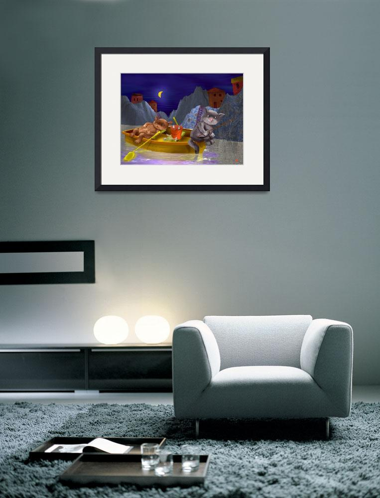 """blue,childrens art,childrens room,cats,nursery,kid&quot  (2002) by MarianneIlevitzky"