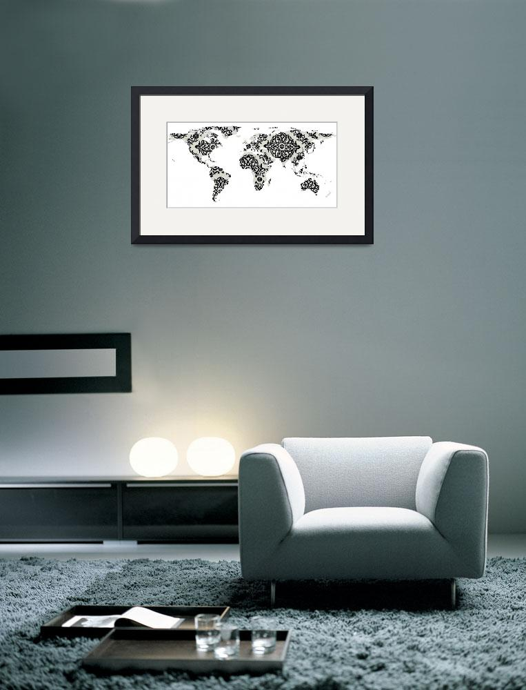 """world, world map, map of the world, mandala, manda&quot  by Alleycatshirts"