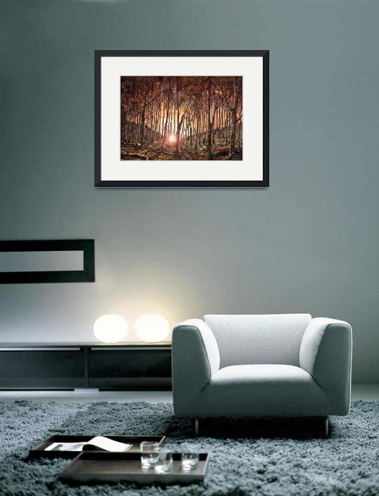 """FOREST AT SUNSET&quot  (2009) by WalterArtShop"