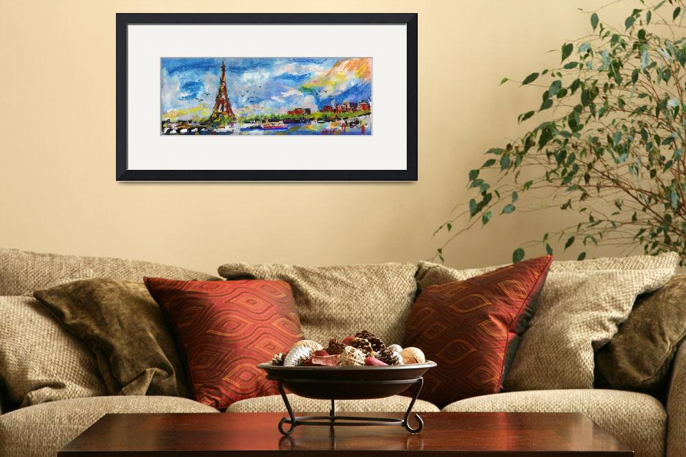 """Panoramic Paris  Eiffel Tower Summer Impressions&quot  (2015) by GinetteCallaway"