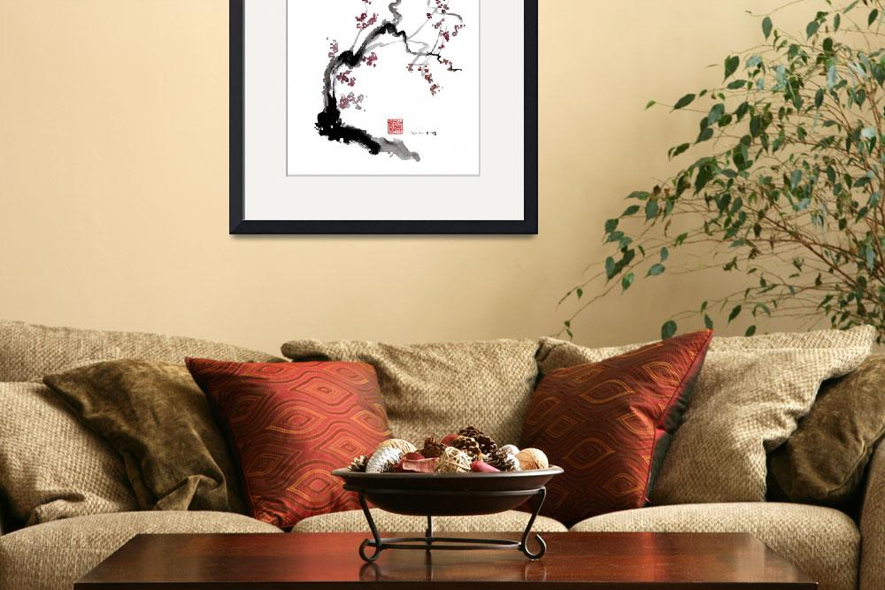 """Sakura cherry blossom orange pink red flowers tree&quot  (2011) by japanese-painting-szmerdt"