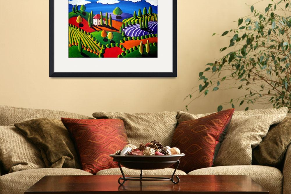 """Colorful Tuscan Landscape&quot  (2009) by reniebritenbucher"