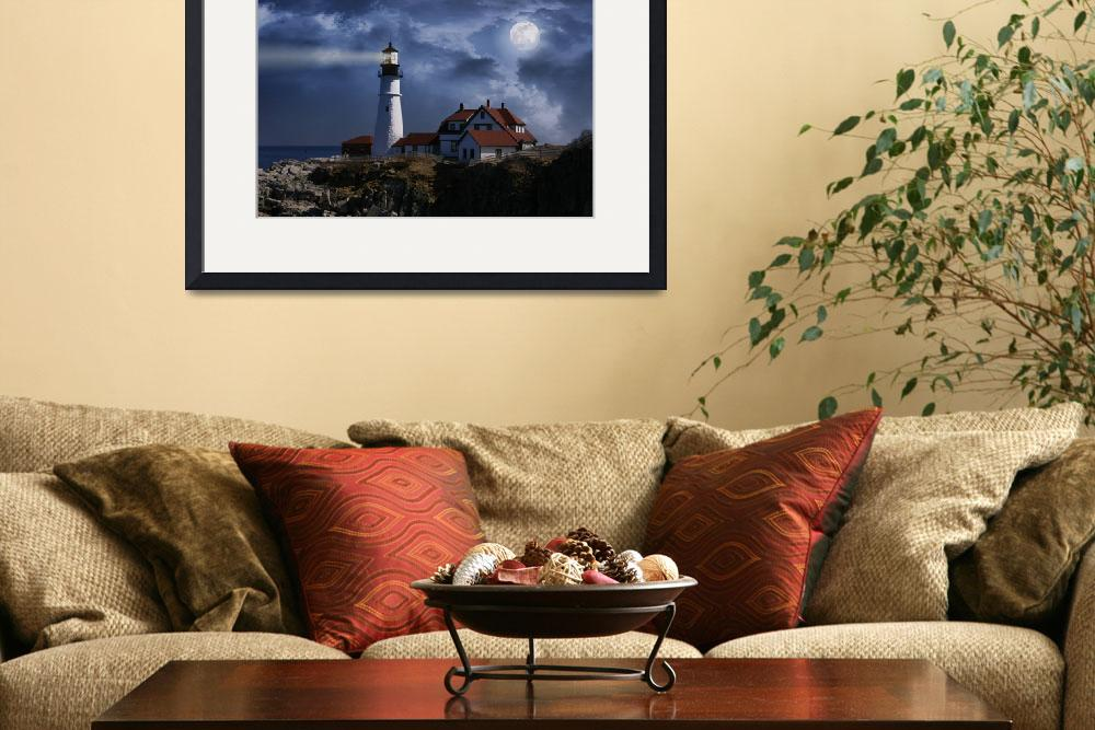 """Stormy Night at Portland Head Lighthouse in Maine&quot  (2009) by digitalvisions"