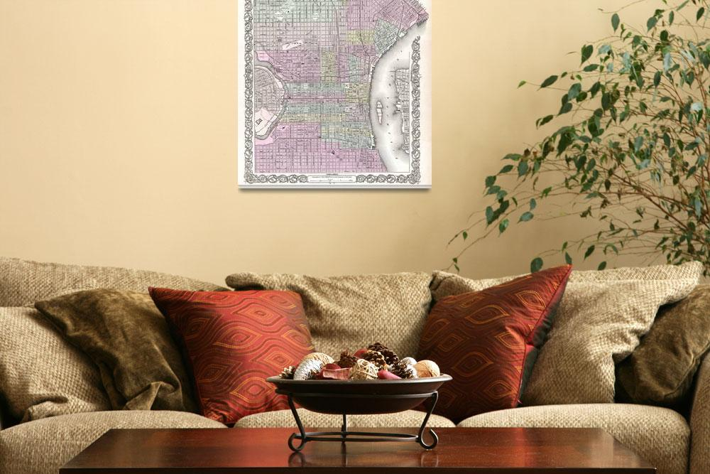"""Vintage Map of Philadelphia (1855)&quot  by Alleycatshirts"